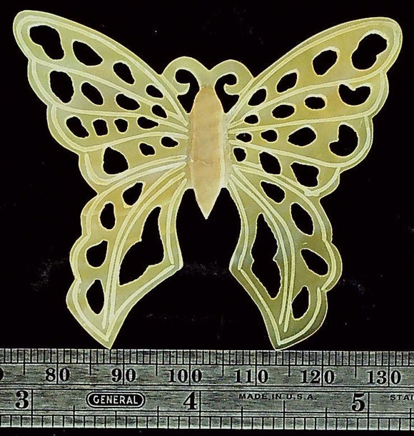 Butterfly golden open carved mother of pearl focal bead (1)