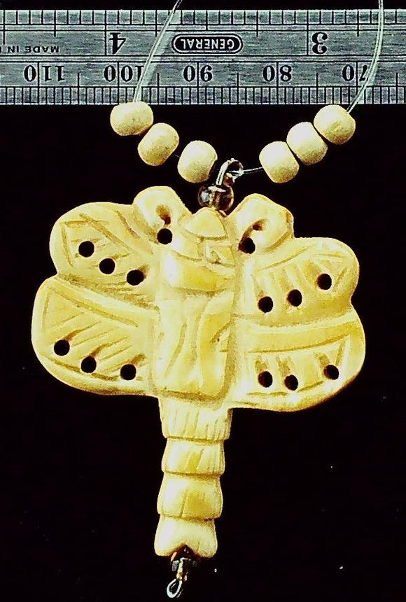 Dragonfly carved bone focal bead (1)