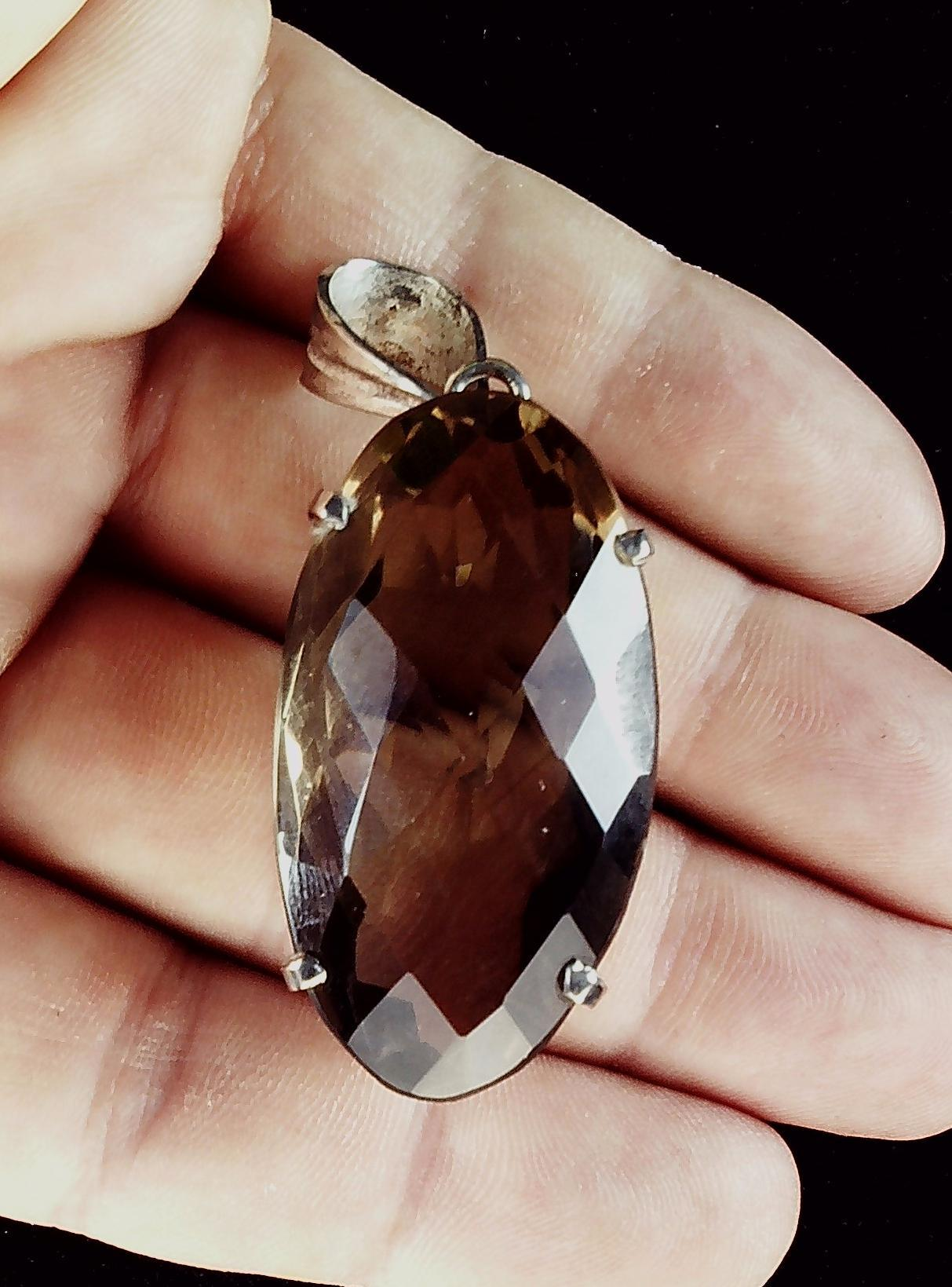 Quartz Smokey solitaire in sterling pendant 42mm x 22mm