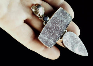 Druzy and quartz pendant with sterling bezel 75mm x 50mm plus bail