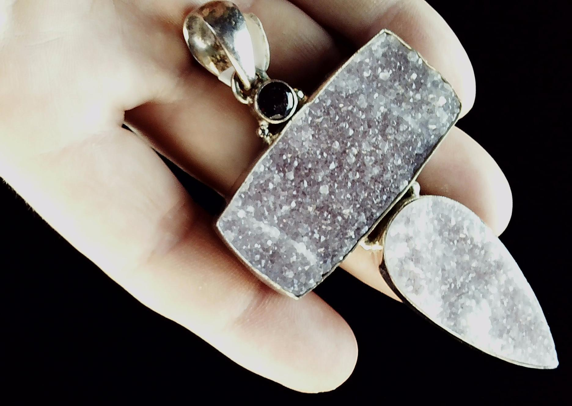 Druzy and quartz pendant with sterling bezel 75mm x 50mm plus hasp