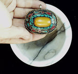 Turquoise with copal  center inlay with sterling bezel  50mm x 60mm
