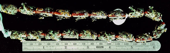 Lizard beads specialty glass Dark red and green set