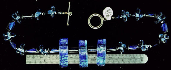 Dichroic necklace blue and purple necklace with sterling toggle clasp