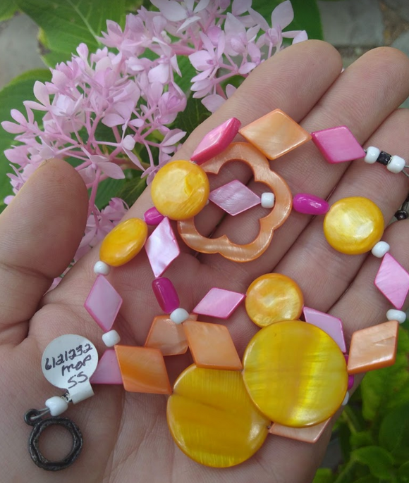 Mother of pearl Pink yellow and orange multi bead necklace with sterling toggle clasp