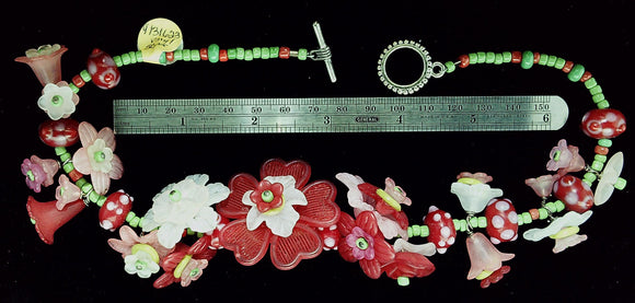 Funky Pink and green vinyl flowers mixed bead necklace with sterling toggle clasp (15 in)