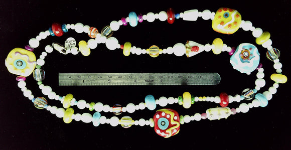Funky lampwork glass mixed bead necklace with sterling lobster clasp (30 in)