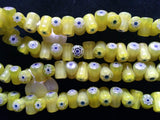 Millefleur Yellow-green and blue/white bead strand