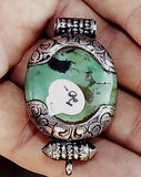 Green Turquoise and sterling with coral pendant 52mm x 30mm