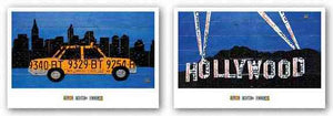 Hollywood Sign at Night and NYC Taxi Cab Set by Aaron Foster