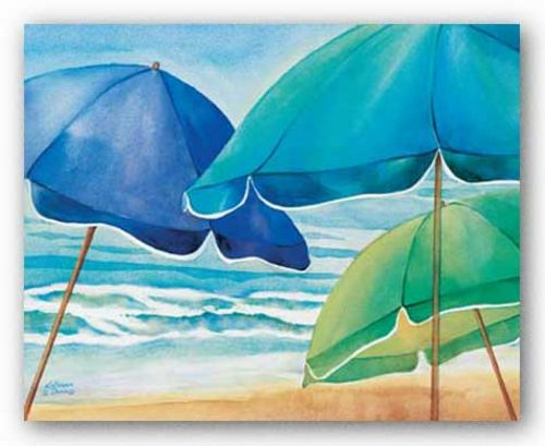 Seaside Umbrellas by Kathleen Denis