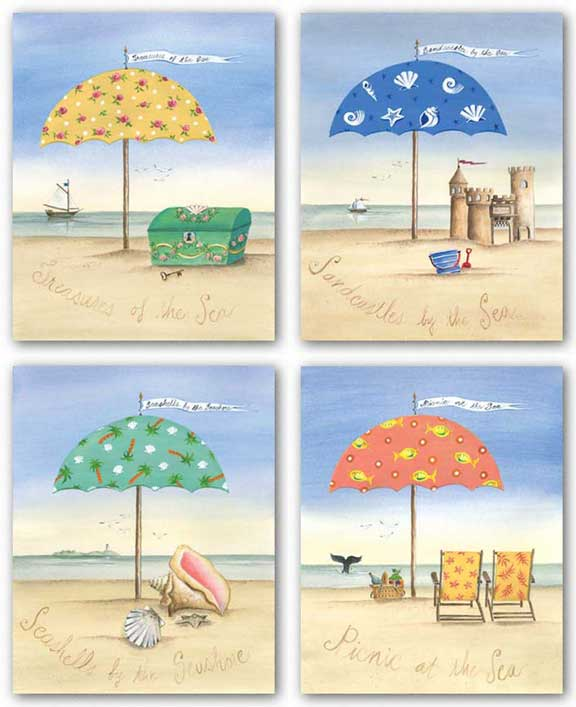 Picnic At The Sea, Treasures Of The Sea, Sandcastles By The Sea, and Seashells By The Seashore Set by Katharine Gracey