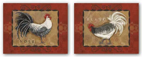 Rooster Noir and Blanc Set by Shari Warren