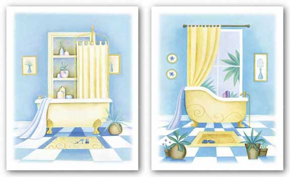 Blue Bathroom Set by Alexandra Burnett
