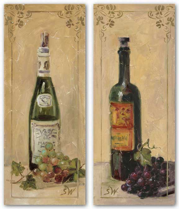 White and Red Wine With Grapes Set by Shari White