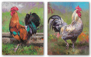 Purple Rooster and Red And Turquoise Rooster Set by Nenad Mirkovich