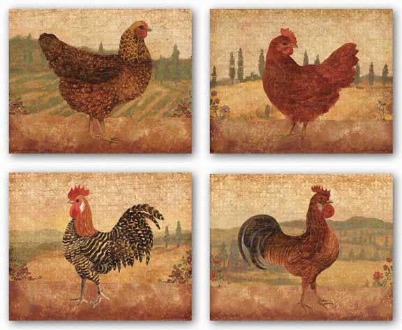 Florentine Rooster and Tuscan Hen Set by Lisa Ven Vertloh