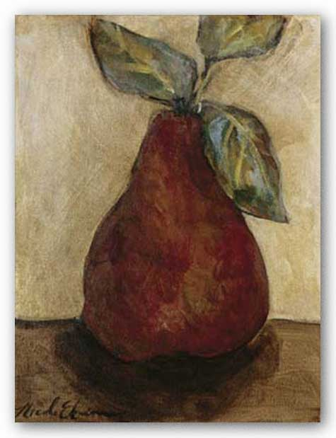 Red Pear On Beige by Nicole Etienne