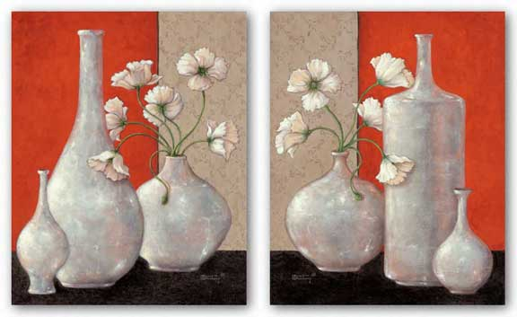 Silverleaf And Poppies Set by Janet Kruskamp