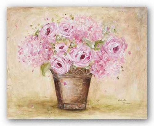 Classic Pink Roses And Hydrangeas by Antonette Bowman
