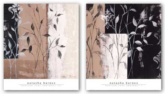 African Leaf Abstract I and III Set by Natasha Barnes