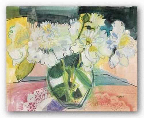 White Bouquet on Pink Table by Maret Hensick