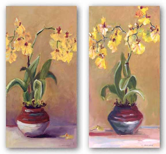 Orchid in Red Pot Set by Shari White