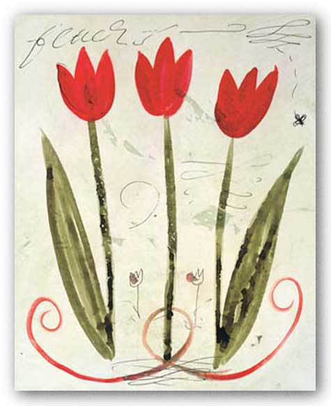 Trois Tulipes Rouge by Susan Gillette