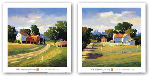 Barns On Greenbrier V and VI Set by Max Hayslette