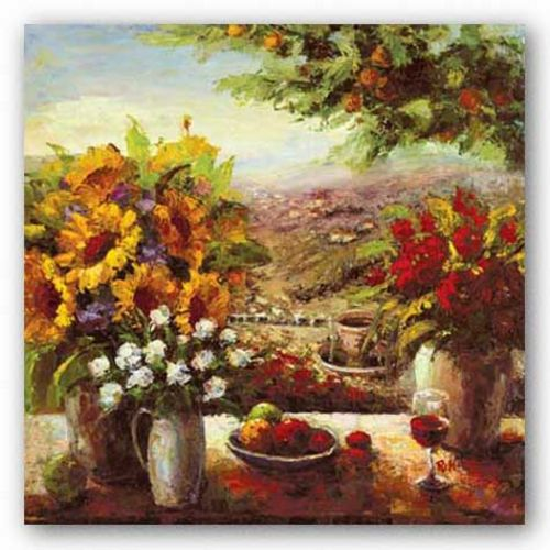 Sunflowers with Fruit and Wine I by Hong