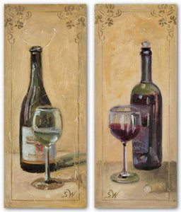 White and Red Wine With Glass Set by Shari White