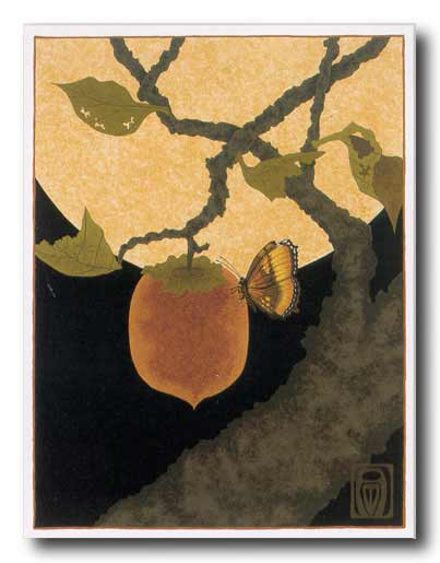 Moon, Persimmon and Moth  by Anita Munman