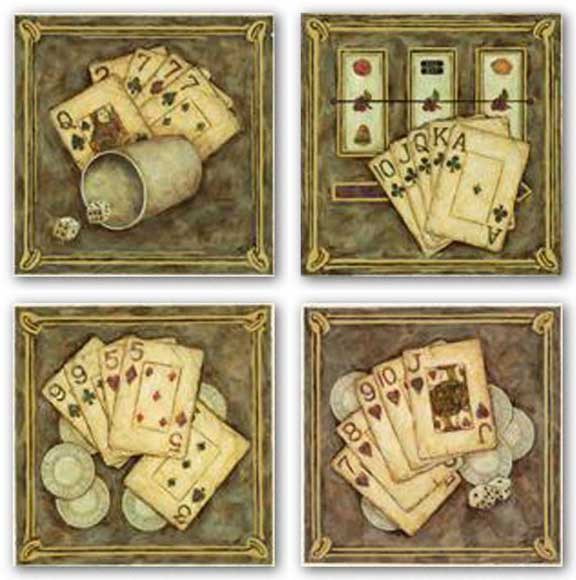 Hearts Flush-Nines and Fives-Clubs Flush-Sevens Set by Judy Kaufman