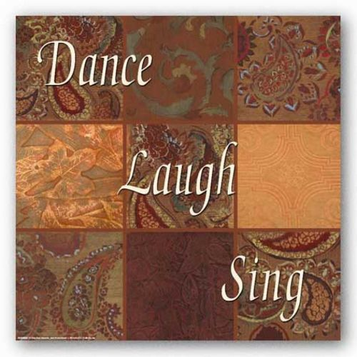Words To Live By Orange Paisley: Dance, Laugh, Sing by Smith-Haynes