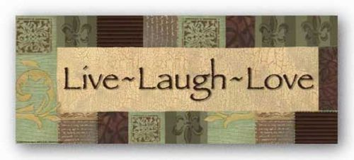 Words To Live By - Sage/brown patch: Live Laugh Love by Smith-Haynes