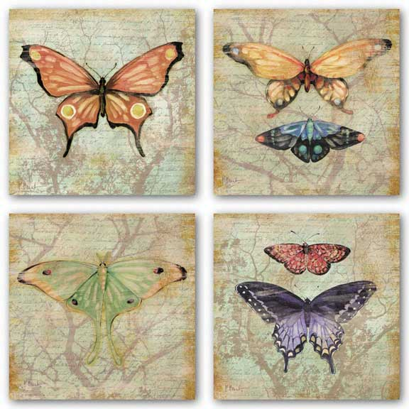 Vintage Butterflies Set by Paul Brent