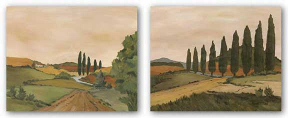 Shady Tuscan Road and Sunny Tuscan Road Set by Jean N. Clark