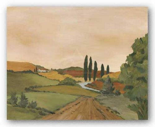 Sunny Tuscan Road by Jean N. Clark
