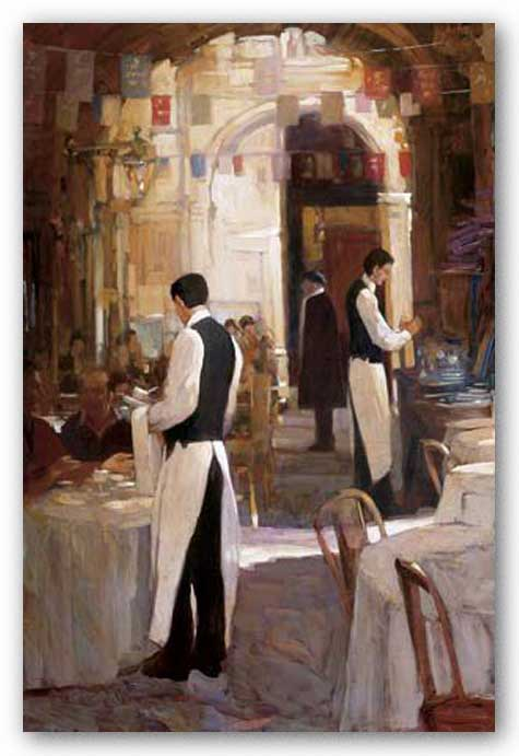 Two Waiters, Place des Vosges by Philip Craig