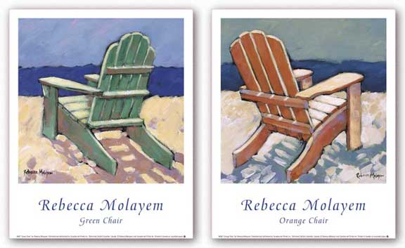 Orange Chair and Green Chair Set by Rebecca Molayem
