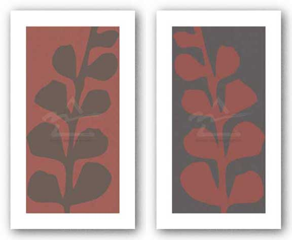Maidenhair Coco and Coral Stem (single) Set by Denise Duplock