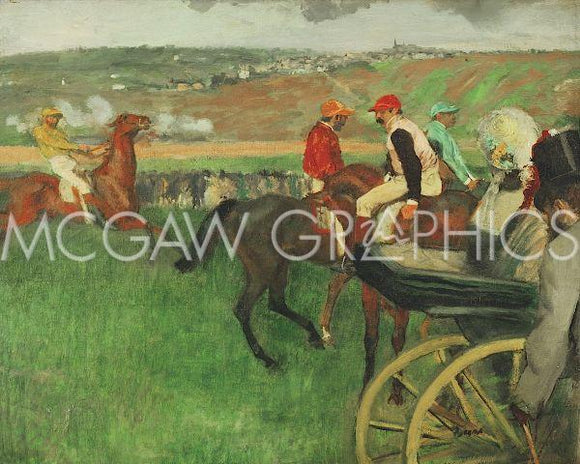 The Race Course: Amateur Jockeys near a Carriage, 1876-1887 by Edgar Degas