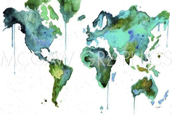 Watercolor Map No 6 by Jessica Durrant