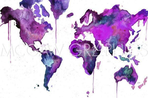 Watercolor Map No 8 by Jessica Durrant