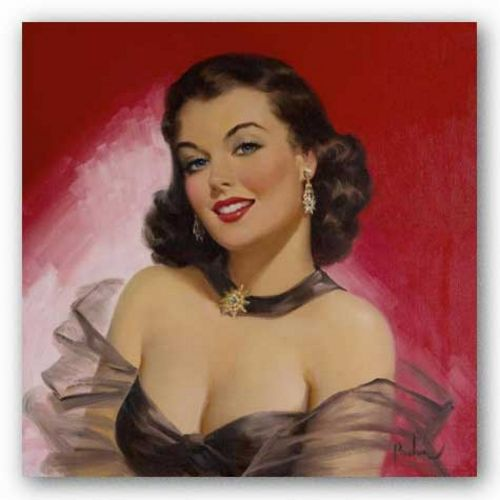 Pinups: Woman Against Red by Art Frahm Pinups