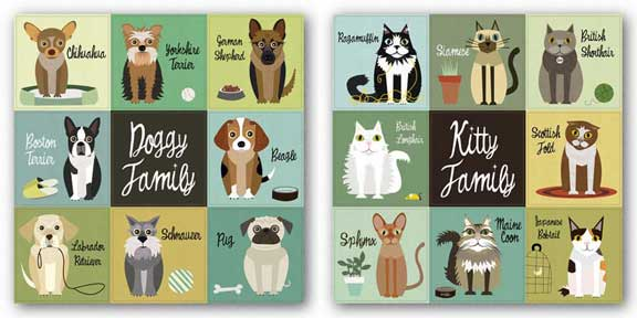 Kitty Family and Doggy Family Set by Jenn Ski