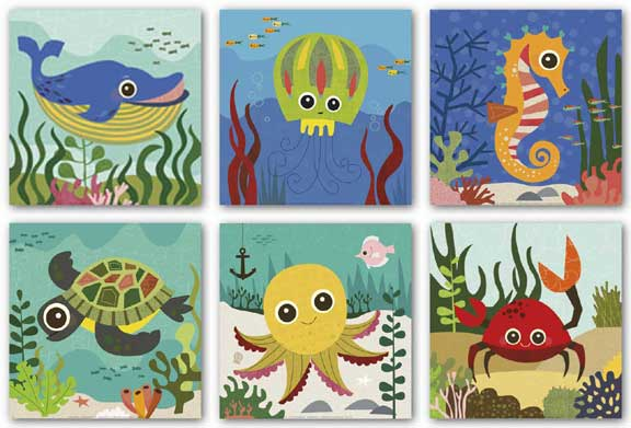Ocean Animals Set (Six Prints) by Jenn Ski