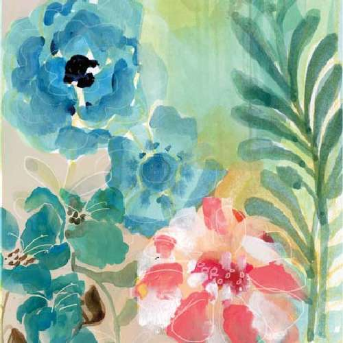 Blue Peach Floral I by Gayle Kabaker
