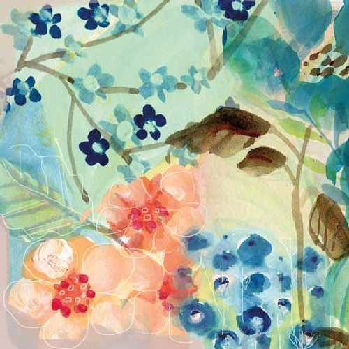 Blue Peach Floral II by Gayle Kabaker