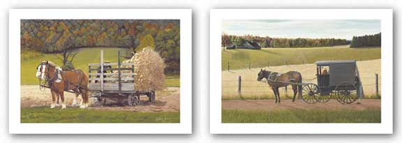 Checking the Pies and Amish Harvest Set by Kathleen Green